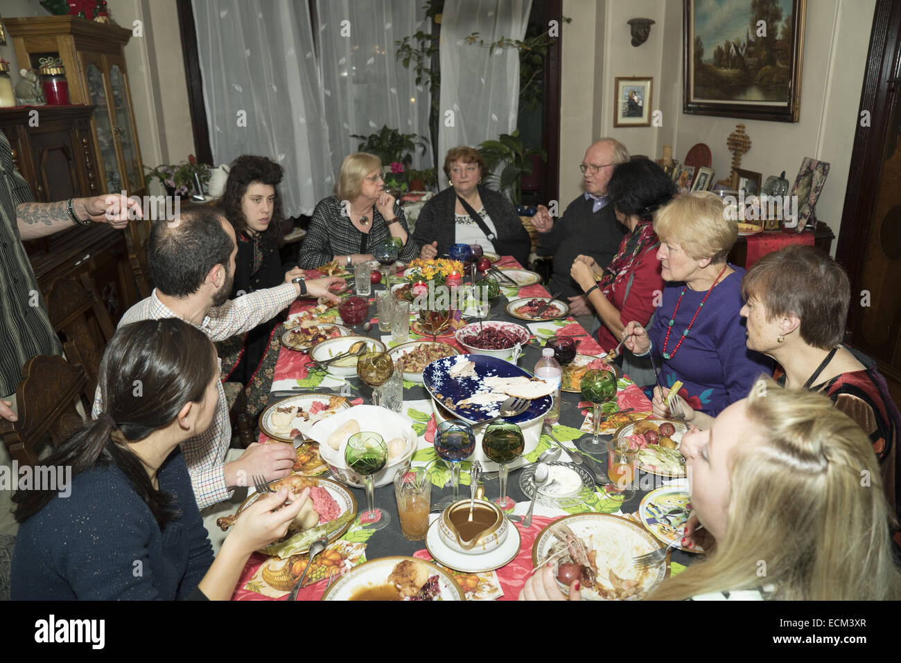 Polish American Thanksgiving dinner in Brooklyn, NY. - Stock Image