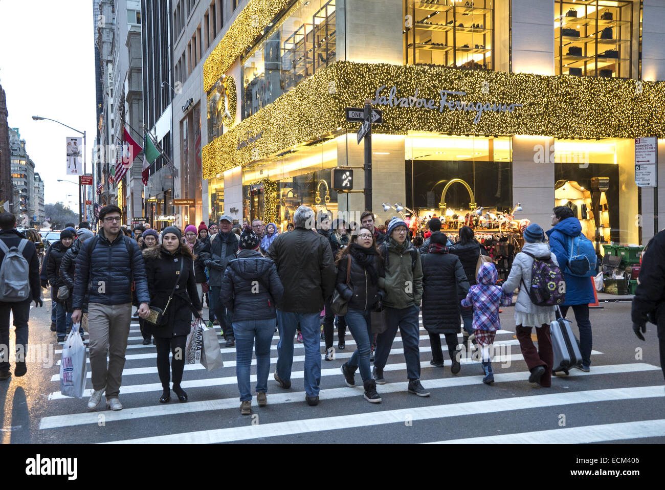 The weekend after Thanksgiving on 5th Ave. in NYC, the traditional beginning of the Christmas holiday shopping season. Stock Photo