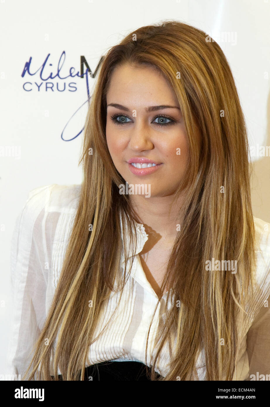 Miley Cyrus Film Star and Singer  at Asda Derby - Stock Image