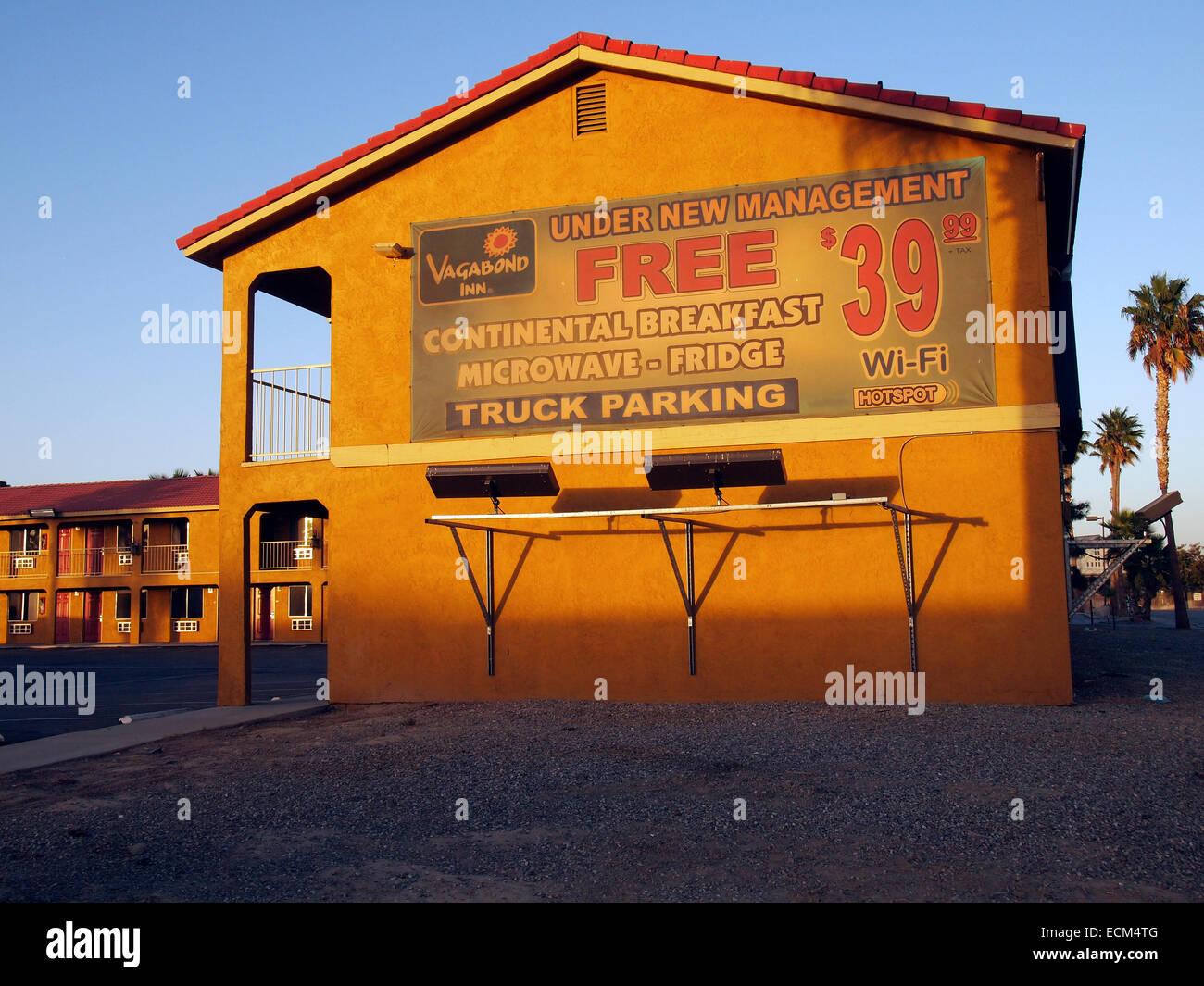 Vagabond Inn motel, Buttonwillow, San Joaquin Valley, California, - Stock Image