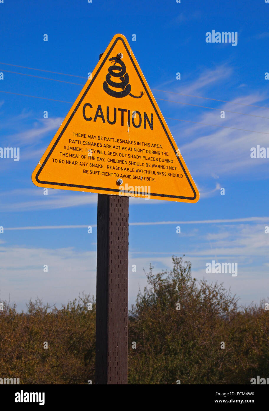 rattlesnake caution sign at a rest stop on Interstate 5 in California, - Stock Image