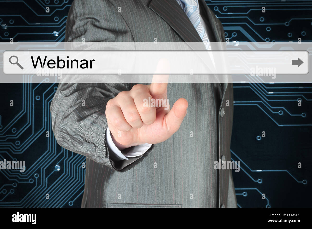 Businessman pushing virtual search bar with webinar word on digital background - Stock Image