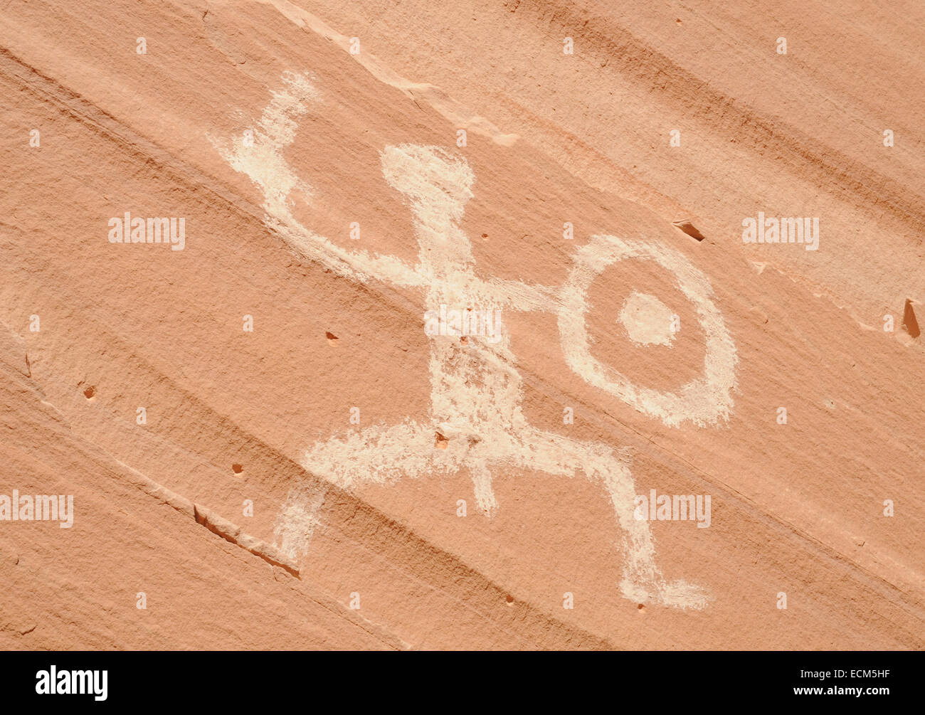 Pictographs at defiance Hose, Forgotten Canyon, Lake Powell, Utah, USA - Stock Image