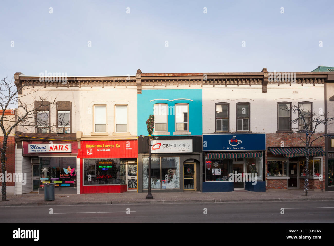 Storefronts along Main Street North in downtown Brampton, Ontario ...