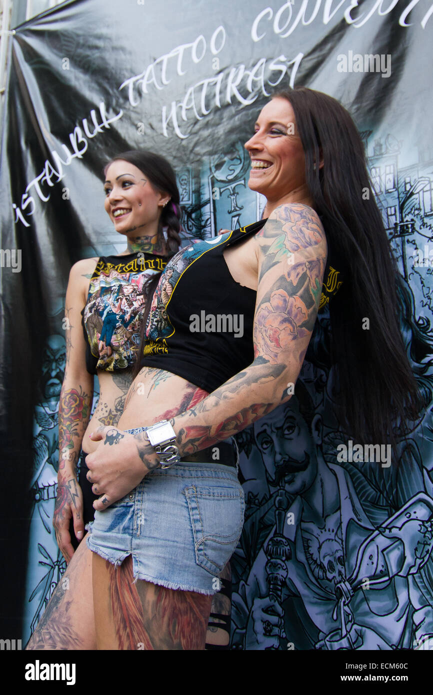 ISTANBUL TURKEY SEPTEMBER 20 2014 Tattooists girls Istanbul Tattoo Convention which held Kadikoy. - Stock Image