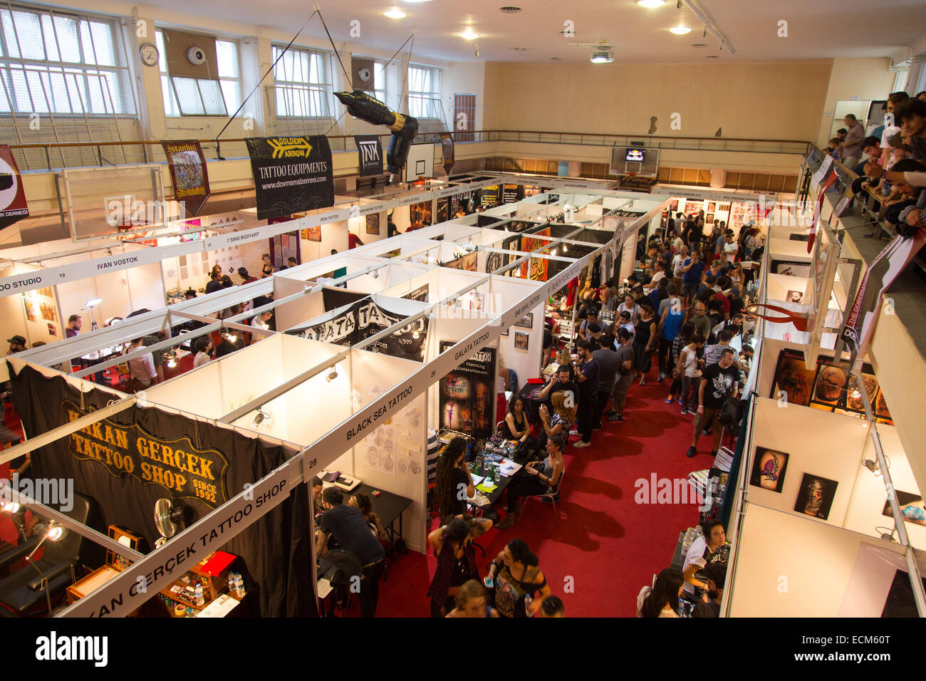 ISTANBUL, TURKEY - SEPTEMBER 20, 2014: Tattooists meet in Istanbul Tattoo Convention which held in Kadikoy. Stock Photo