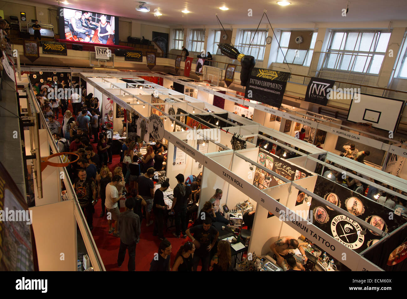 ISTANBUL TURKEY SEPTEMBER 20 2014 Tattooists meet Istanbul Tattoo Convention which held Kadikoy. - Stock Image