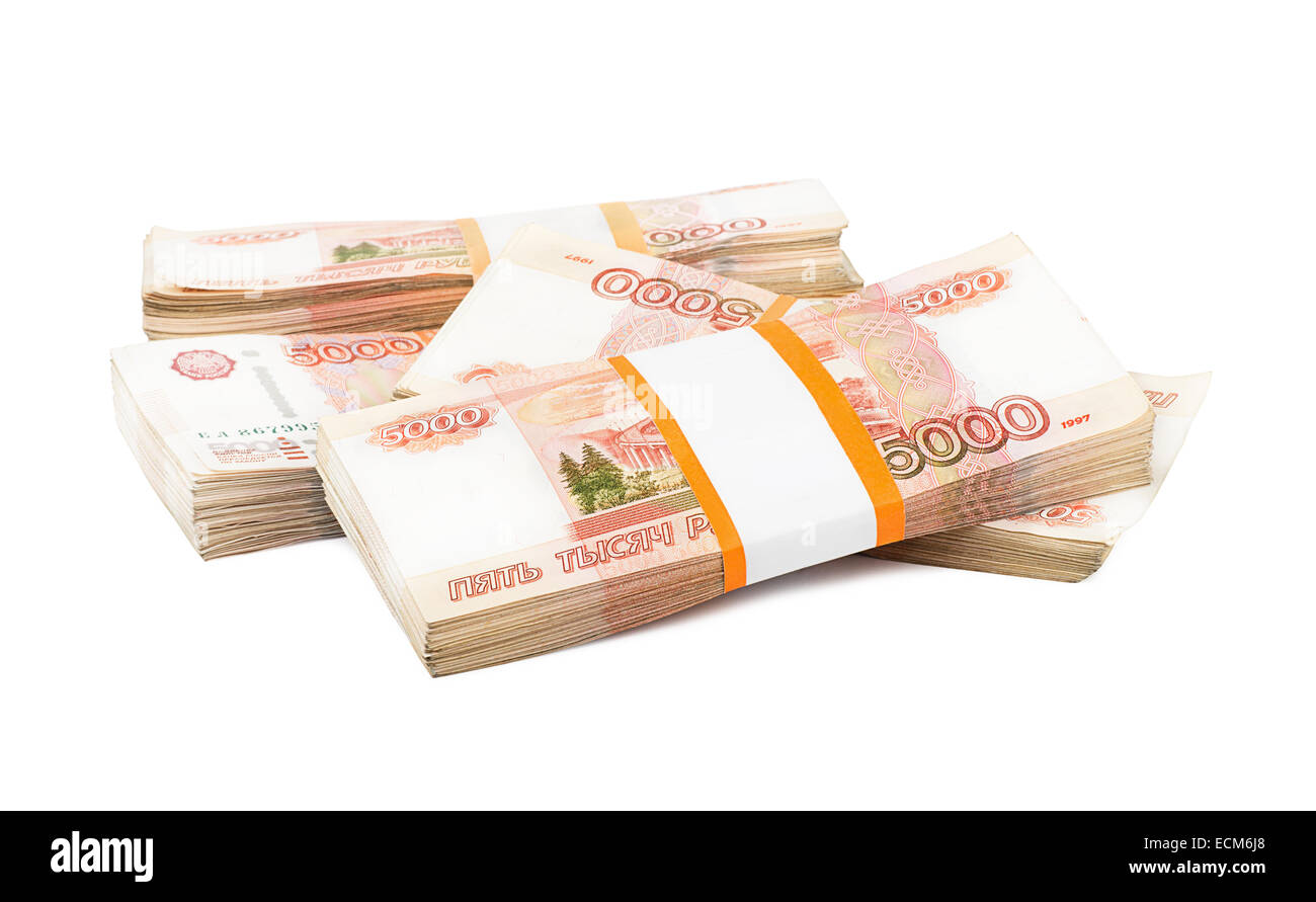 Russian rubles on a white background - Stock Image