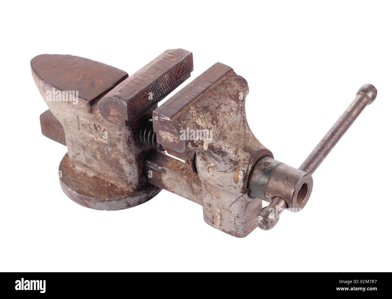 Rusty old vice on a white background. It is isolated, the worker of paths is present. - Stock Image