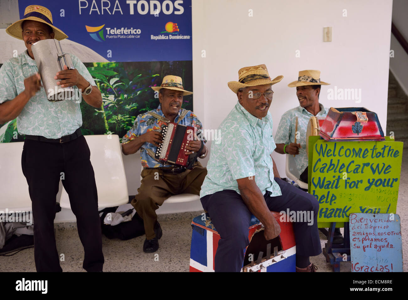 Merengue buskers playing at the Mount Isabel de Torres cable car station Puerto Plata Dominican Republic - Stock Image