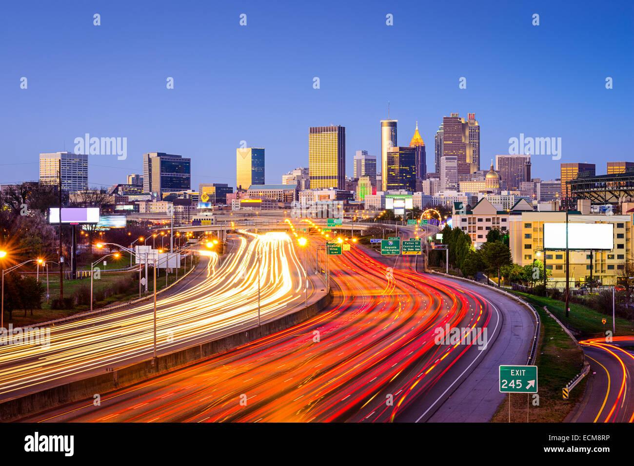 Atlanta, Georgia, USA downtown city skyline over the interstate highway. Stock Photo