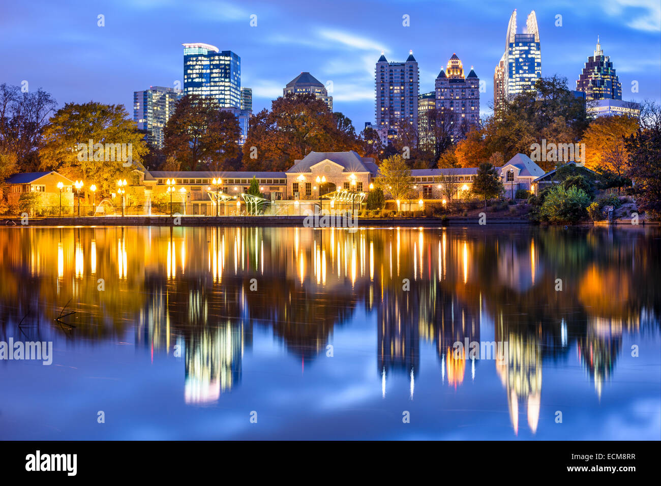 Atlanta, Georgia, USA downtown city skyline at Piedmont Park's Lake Meer. - Stock Image