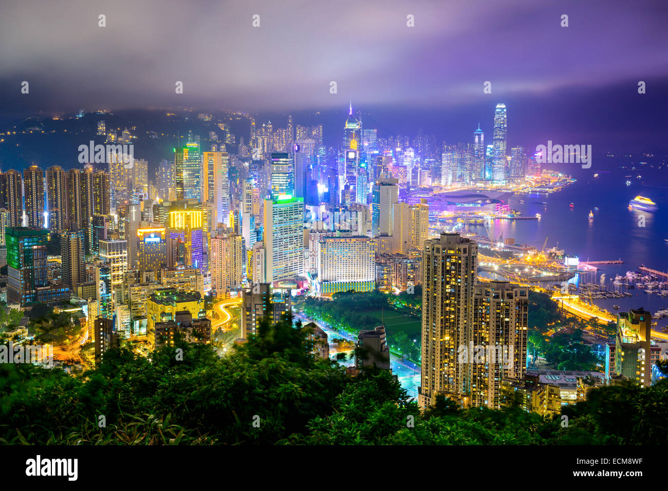 Hong Kong, China city skyline at night. - Stock Image