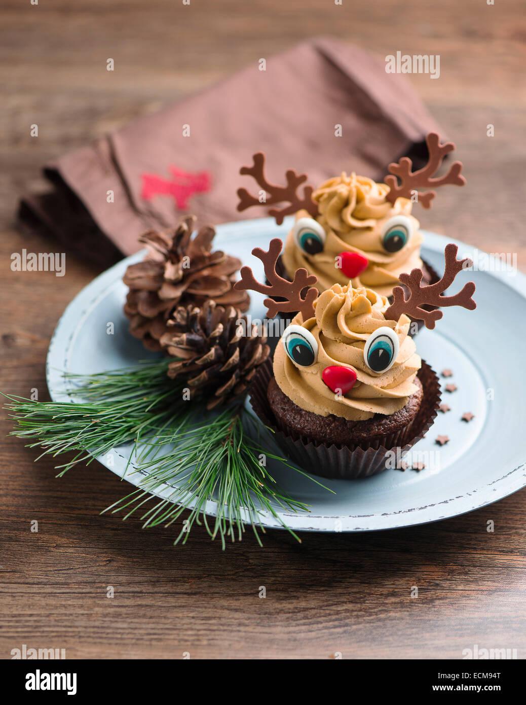 Christmas cupcakes - Stock Image