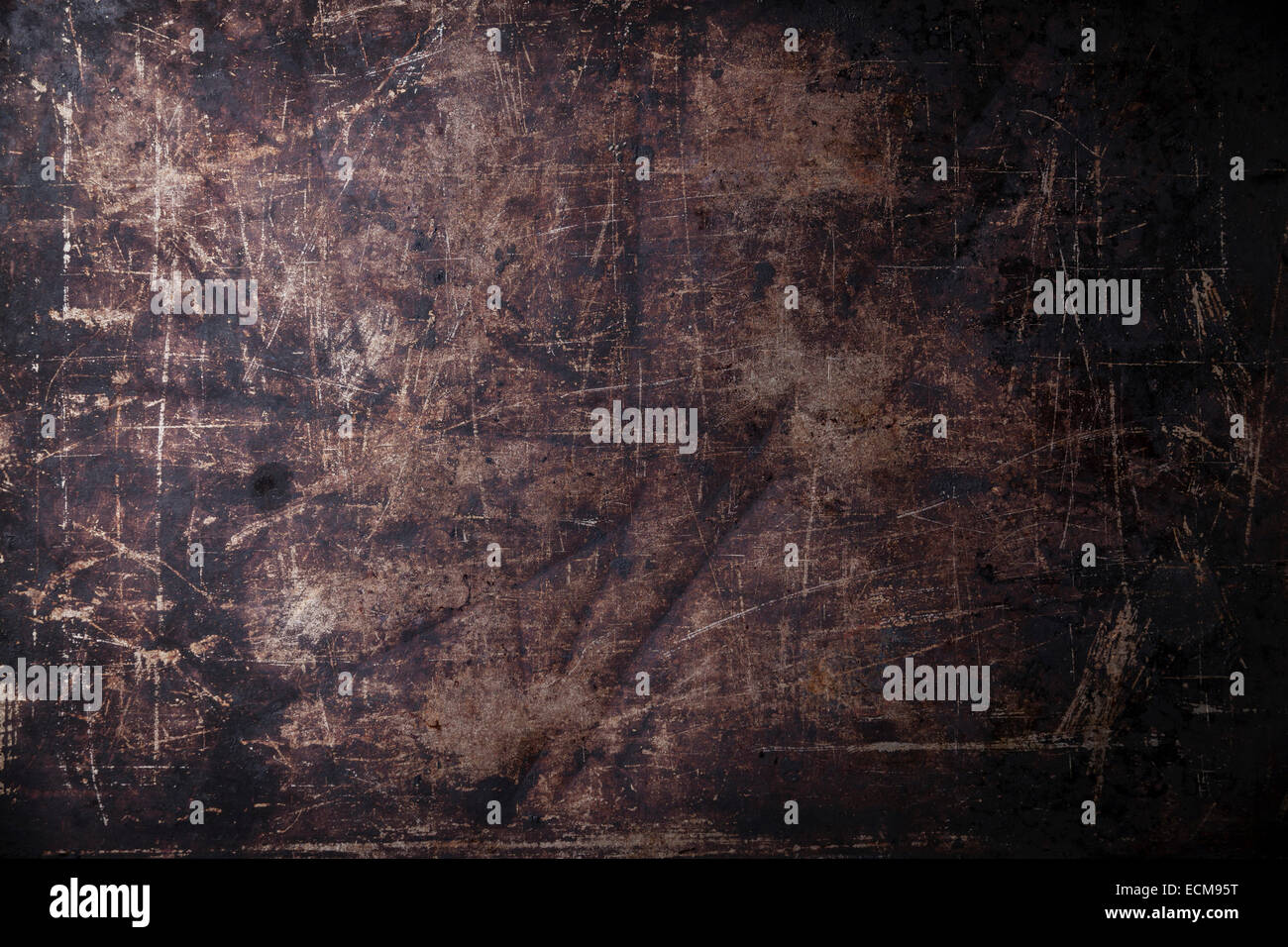 Old scratched black dark background texture - Stock Image
