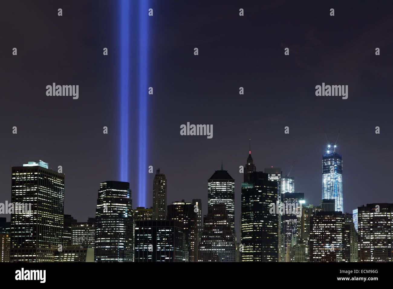 September 11 Tribute in Light beams of light viewed across the East River from Brooklyn 2012 - Stock Image