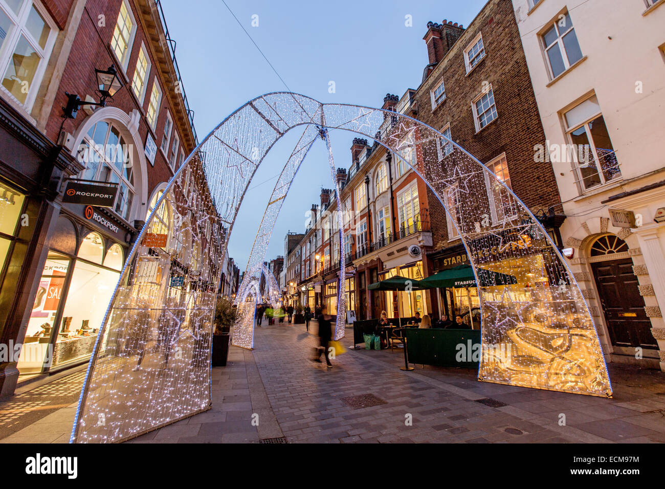Christmas Decorations South Molton Street London UK - Stock Image