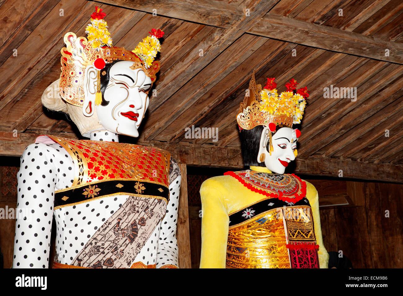 Balinese Masks. Setia Darma House of Masks and Puppets, Mas, Ubud, Bali, Indonesia - Stock Image