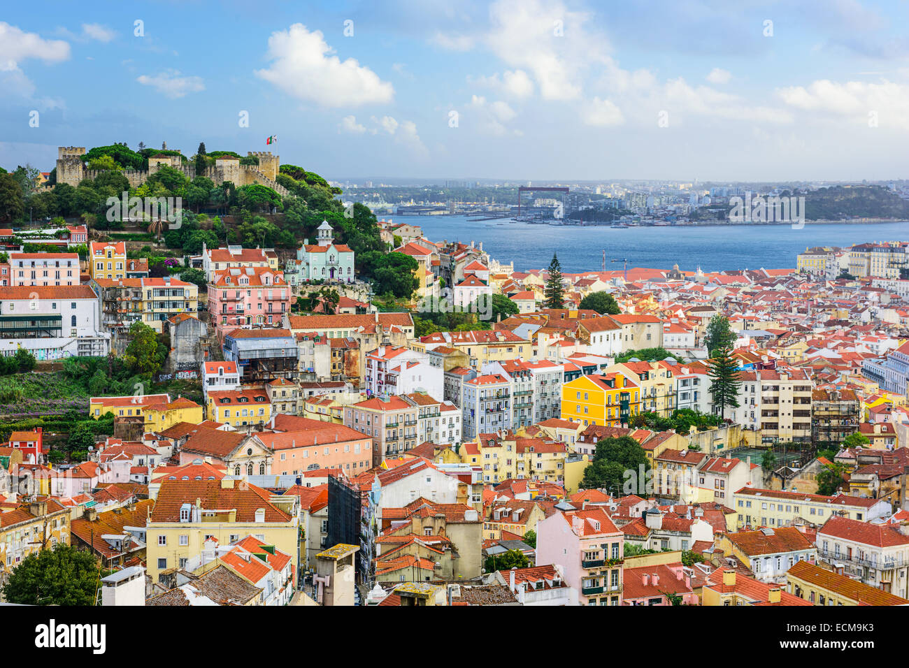 Lisbon, Portugal skyline at Sao Jorge Castle in the day. - Stock Image