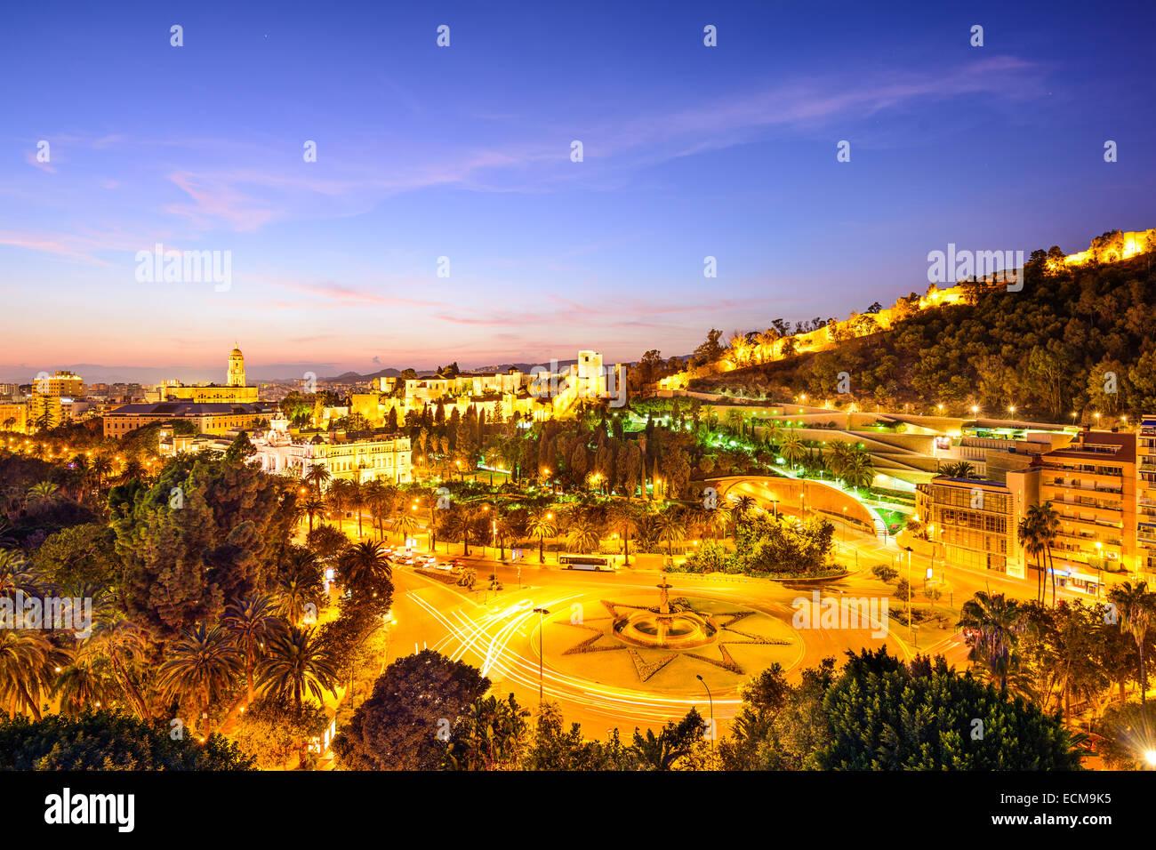 Malaga, Spain cityscape at the Cathedral, City Hall and Alcazaba Moorish fort. - Stock Image