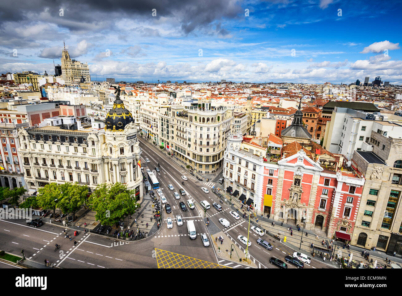 Madrid, Spain cityscape above Gran Via shopping street. - Stock Image