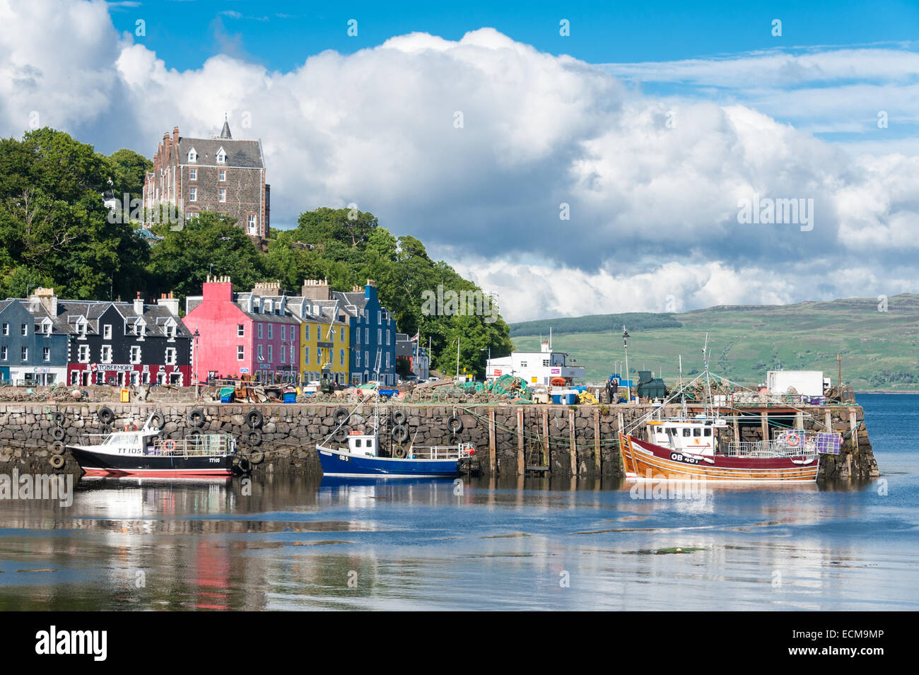The colourful harbour in Tobermory, the largest town on the island of Mull off Scotland's west coast. Stock Photo