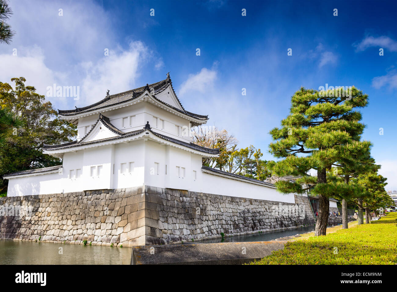 Kyoto, Japan at Nijo Castle's outer moat. - Stock Image