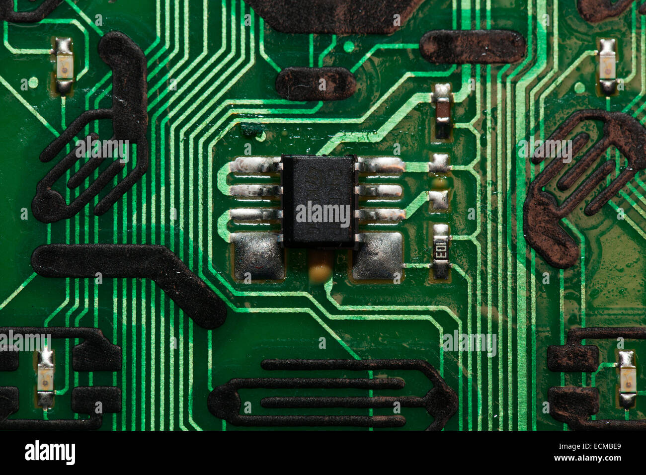 Microchip Connections of a Remote on a green PBC circuit board Stock ...