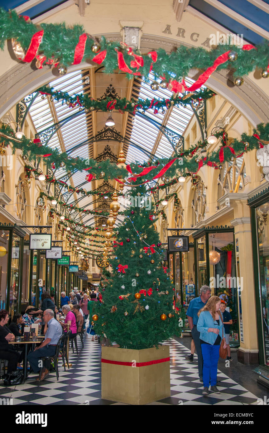 Christmas decorations in Royal Arcade, Melbourne Stock Photo ...