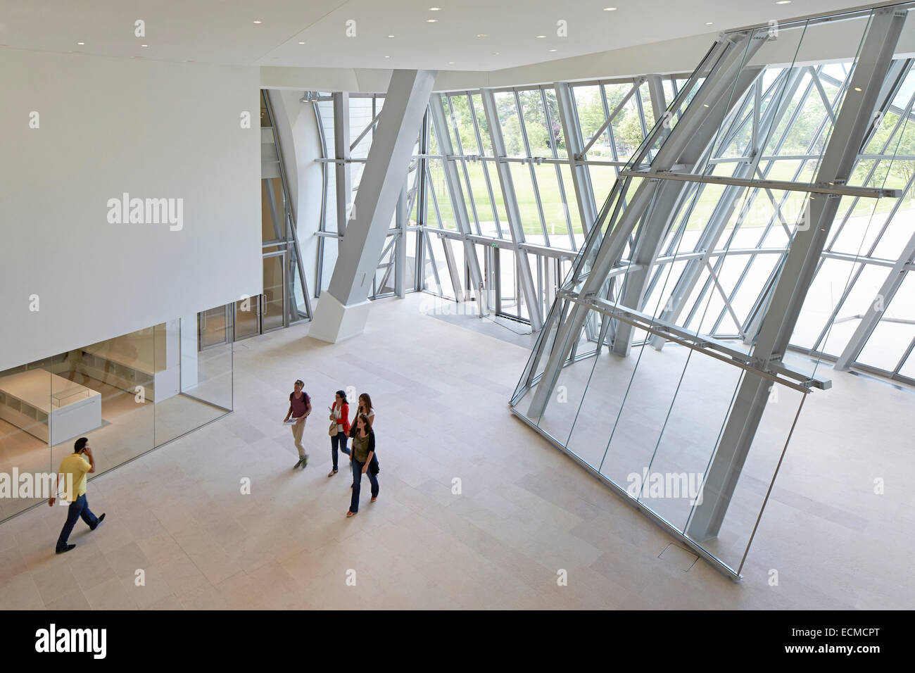 Fondation Louis Vuitton, Paris, France. Architect  Gehry Partners LLP,  2014. Ground level entrance hall. ff2af964304
