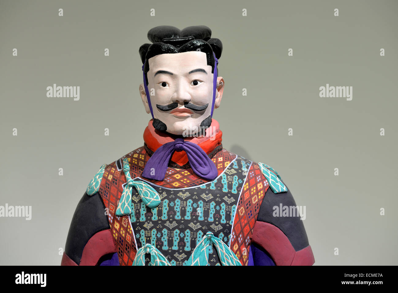 Terracotta warrior replicated in original colours, Mausoleum of the First Qin Emperor, Xi'an, Shaanxi Province, - Stock Image