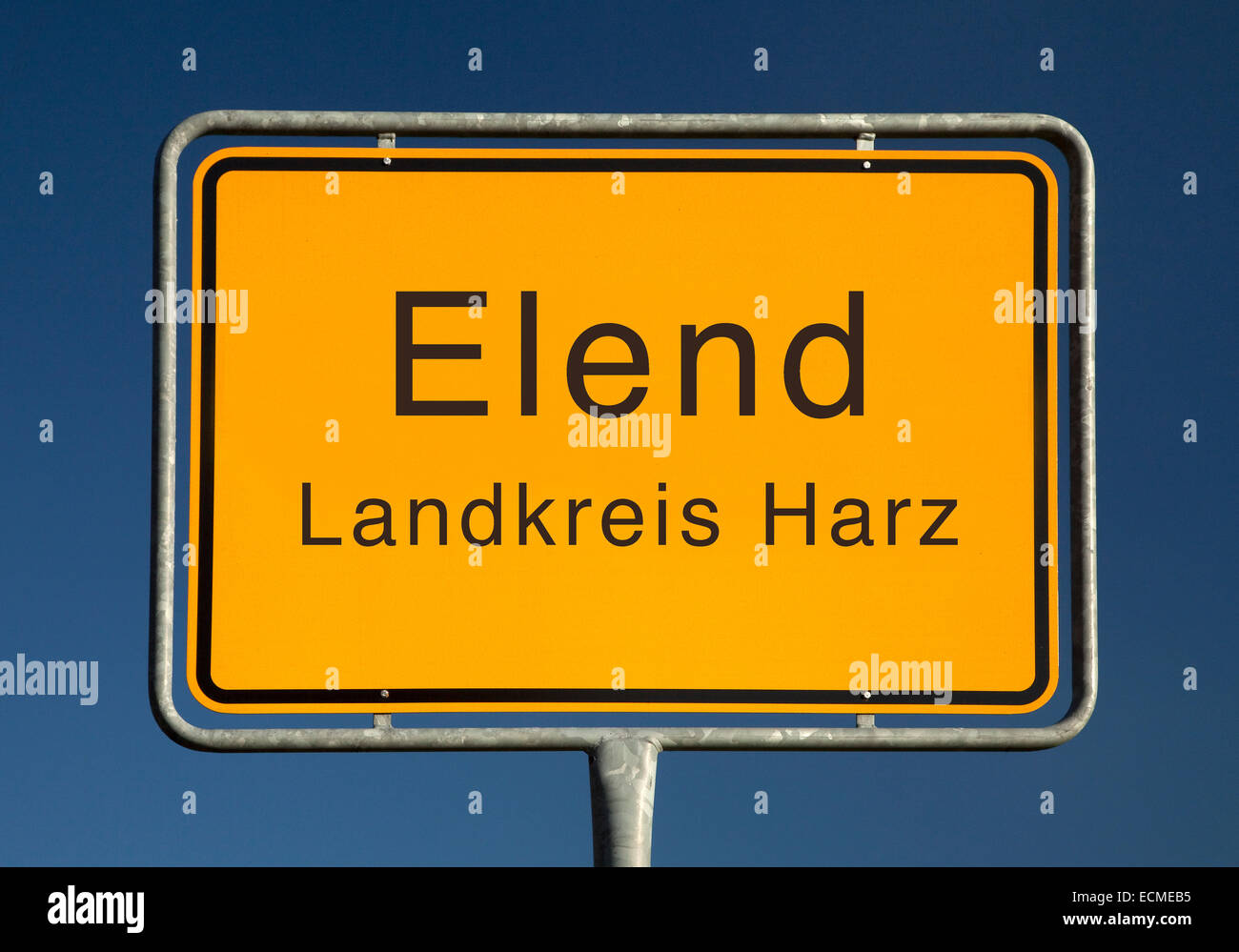 City limits sign, Elend or misery, district of Harz, Saxony-Anhalt, Germany Stock Photo