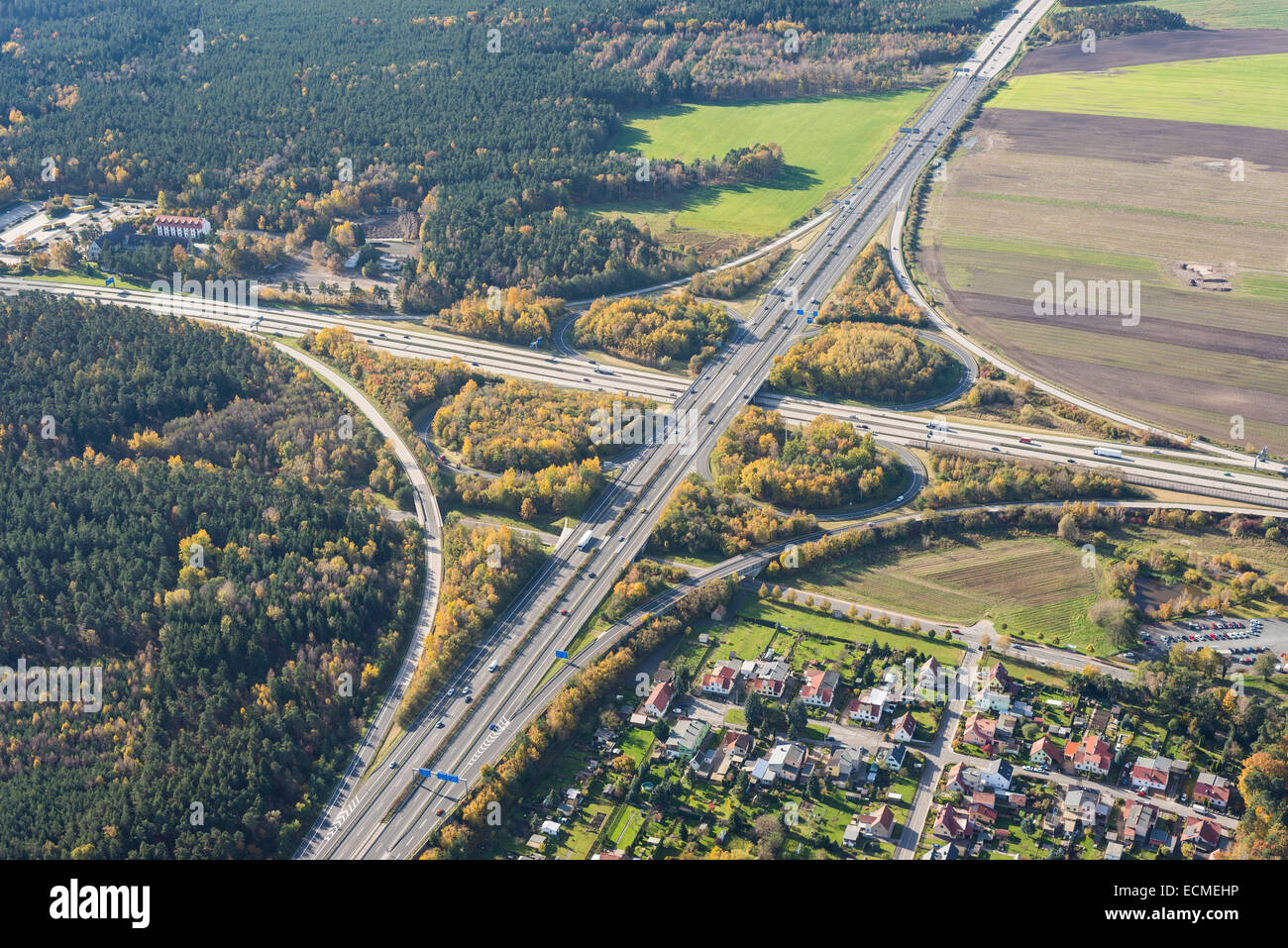 Aerial view, Hermsdorfer Kreuz, motorway junction, view from the east, junction of the A4 motorway and the A9 motorway - Stock Image