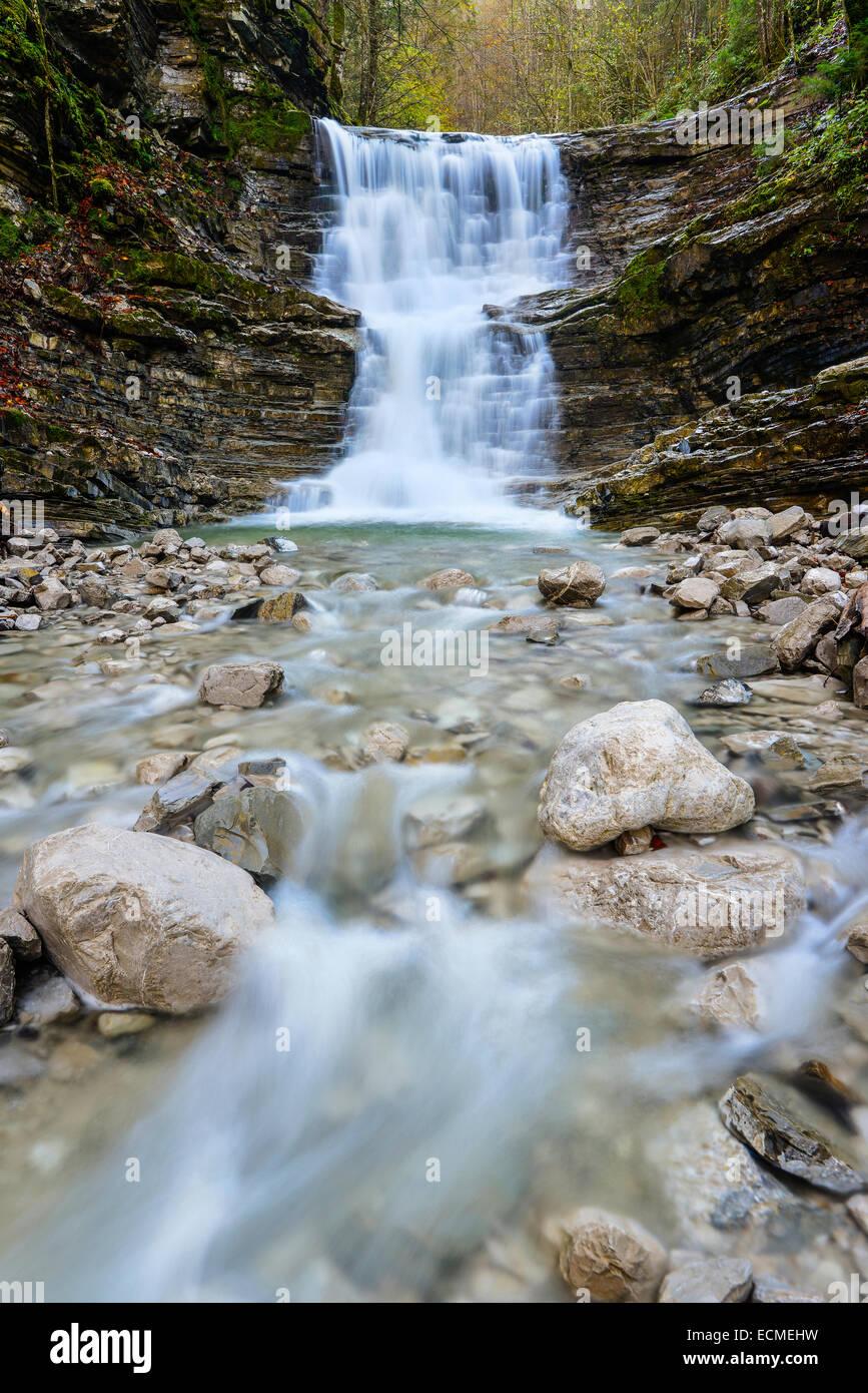 Taugl stream with waterfall, Tauglschlucht gorge, District Hallein, Salzburg, Austria Stock Photo