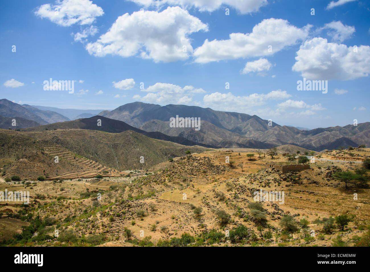 Outlook over the mountains along the road from Massawa to Asmarra, Eritrea - Stock Image