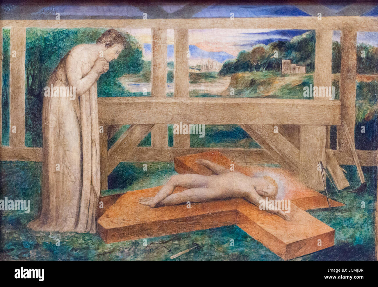 Our lady adoring the infant Jesus asleep on a cross, William Blake - Stock Image