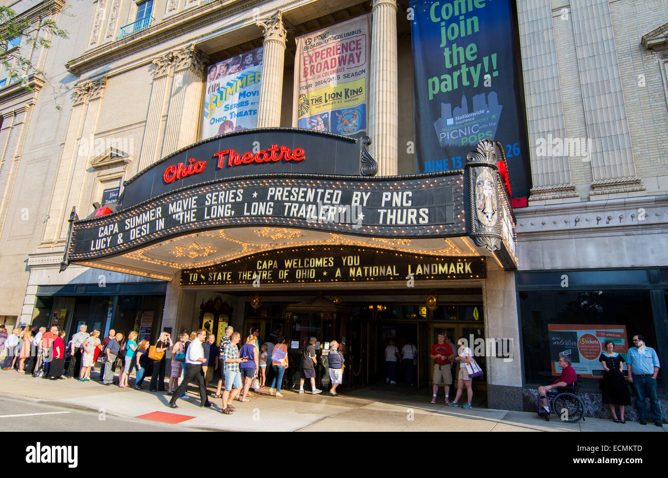 Columbus Ohio famous Ohio Theatre since 1928  in downtown with Luci Ball and Desi Arnaz movie Stock Photo