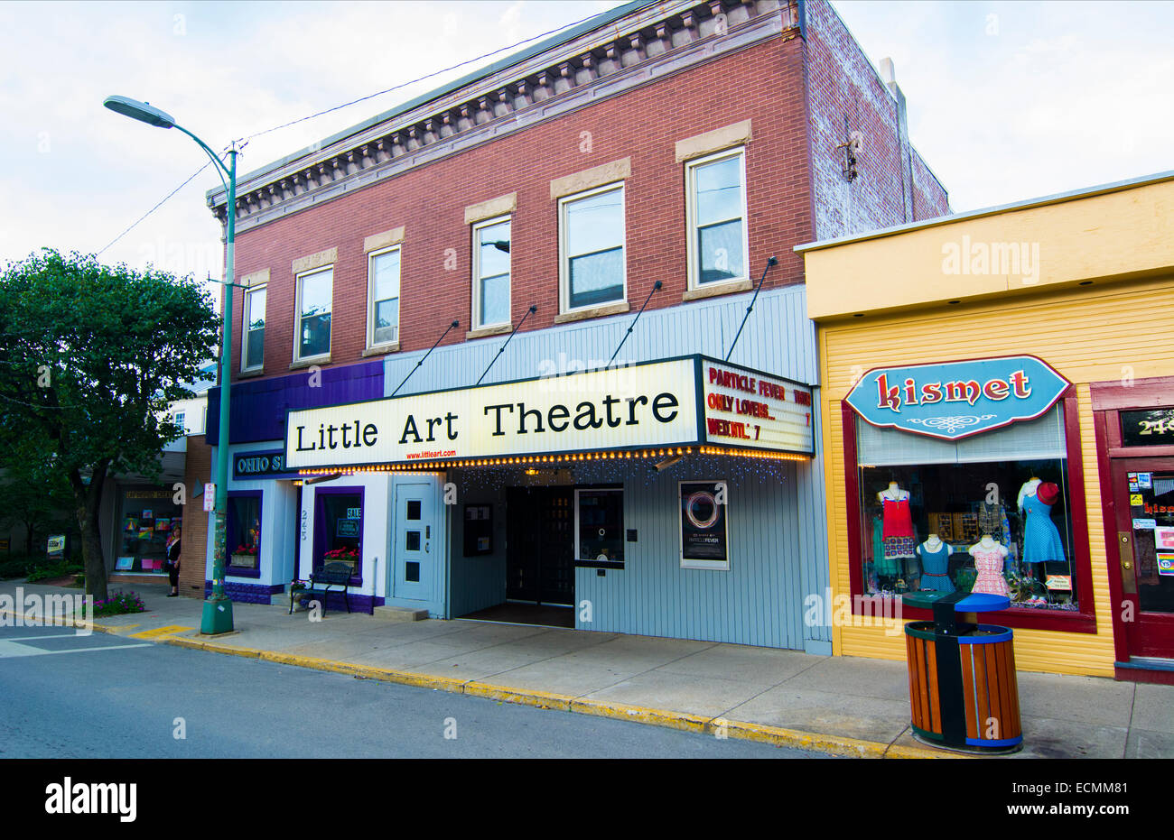 Yellow Springs Ohio artsy small town with local Little Art Theatre on Main Street - Stock Image