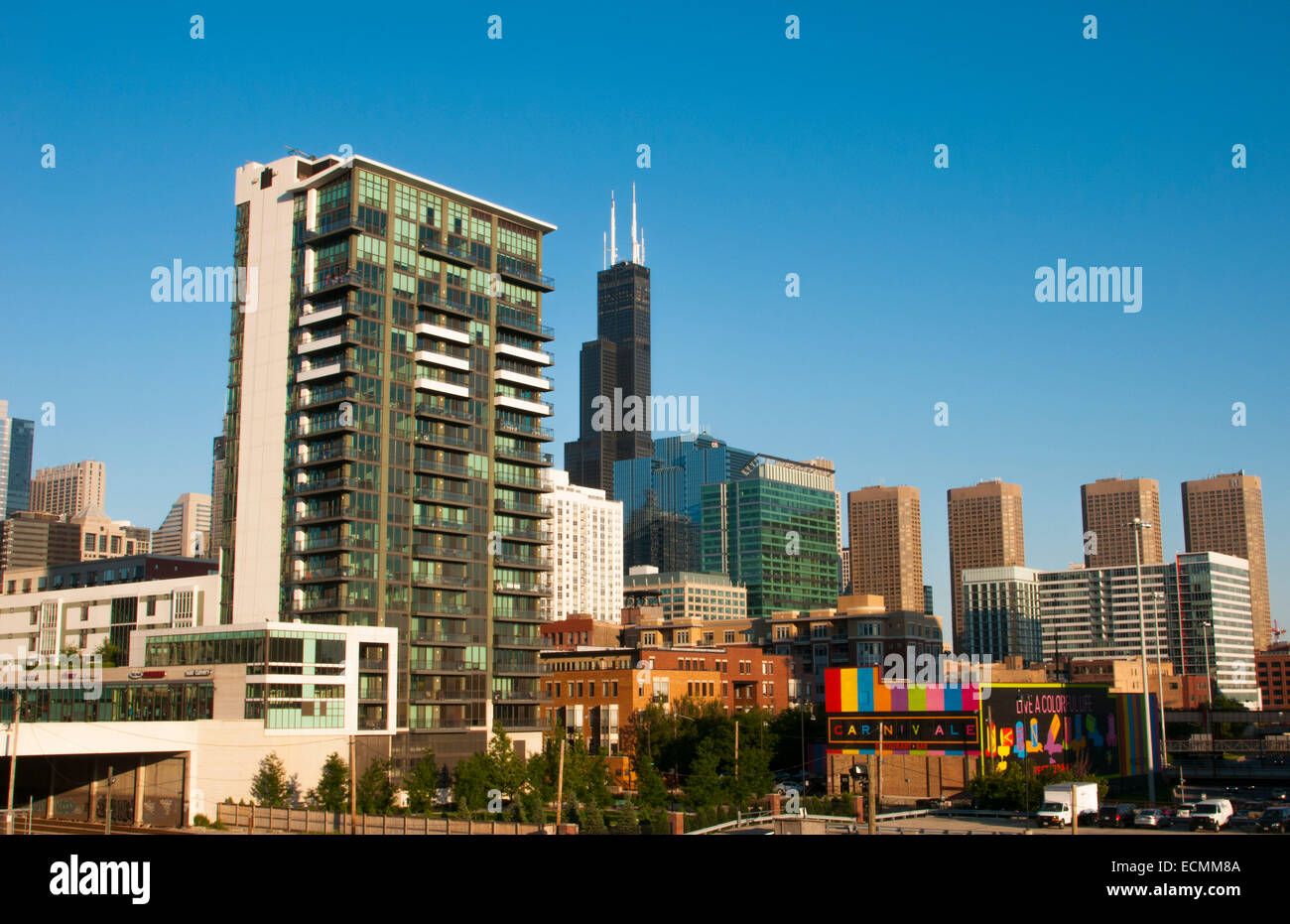 Chicago Illinois skyline near the Sears Tower now called Willis Tower in downtown city center - Stock Image