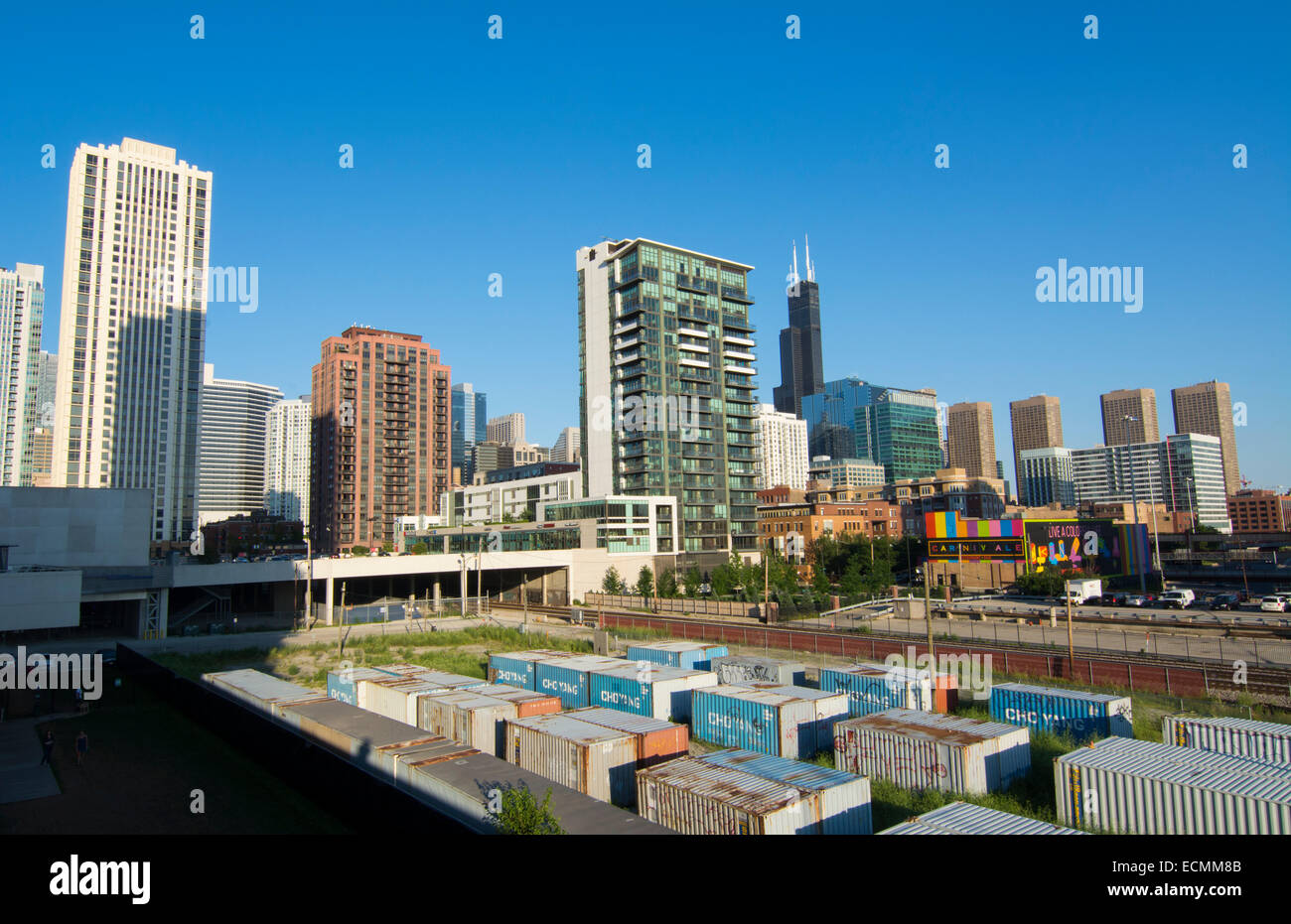 Chicago Illinois skyline with Sears Tower or Willis Tower in the back with skyscrapers - Stock Image