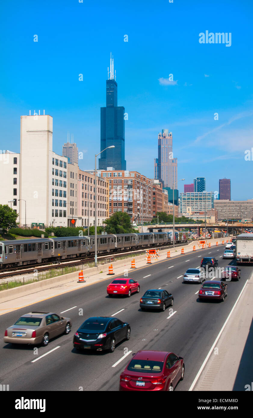 Chicago Illinois traffic on Interstate 290 at skyline near the Sears Tower now called Willis Tower in downtown city - Stock Image