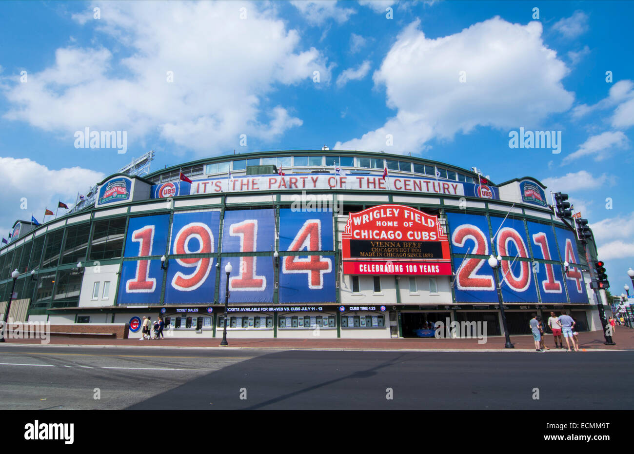 Chicago Illinois famous Wrigley Field for Major League Baseball team of Chicago Cubs built in 1914 - Stock Image