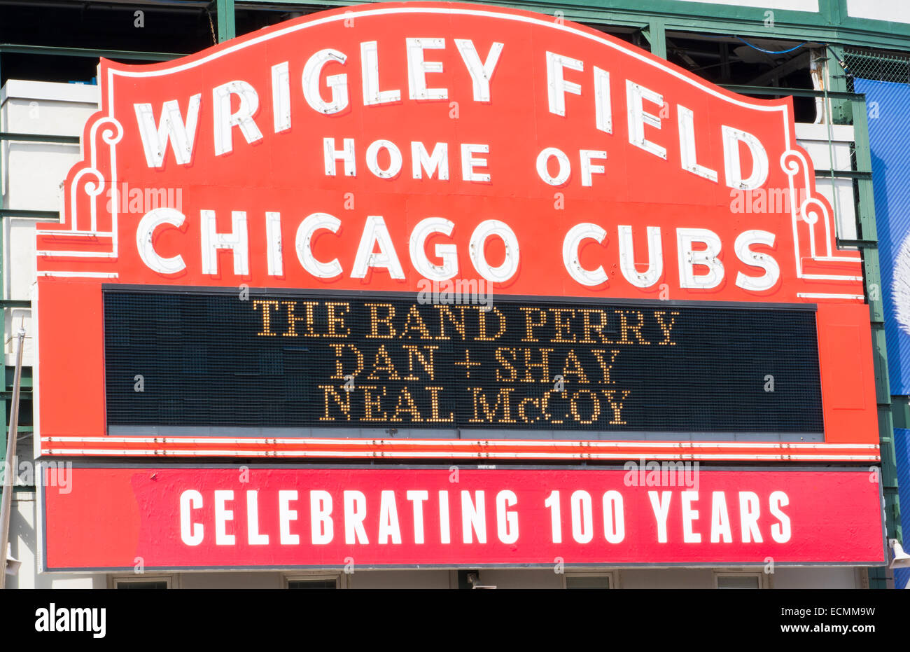 Chicago Illinois famous Wrigley Field sign for Major League Baseball team of Chicago Cubs built in 1914 - Stock Image