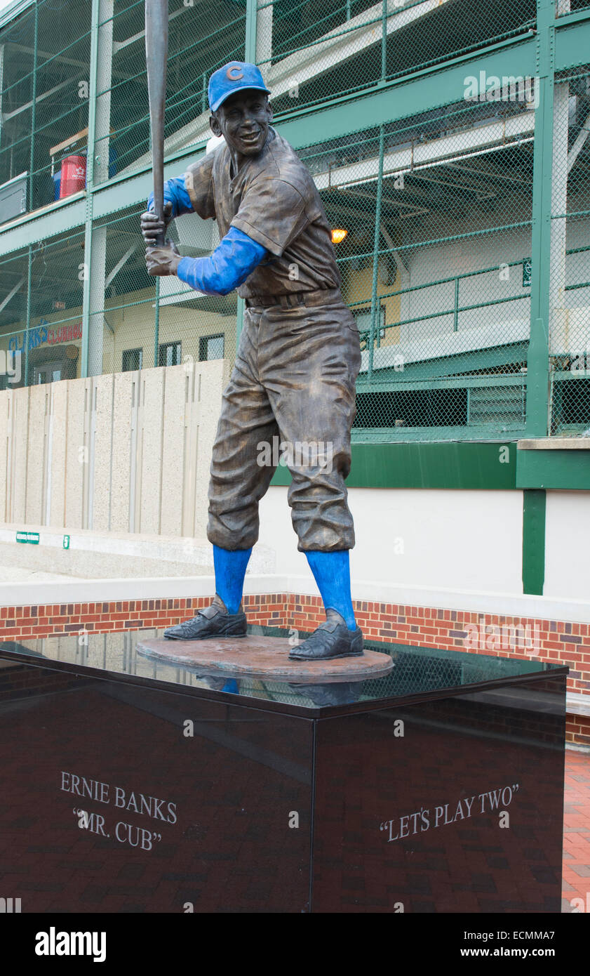 Chicago Illinois famous Wrigley Field statue of Ernie Banks Mr Cub  for Major League Baseball team of Chicago Cubs - Stock Image
