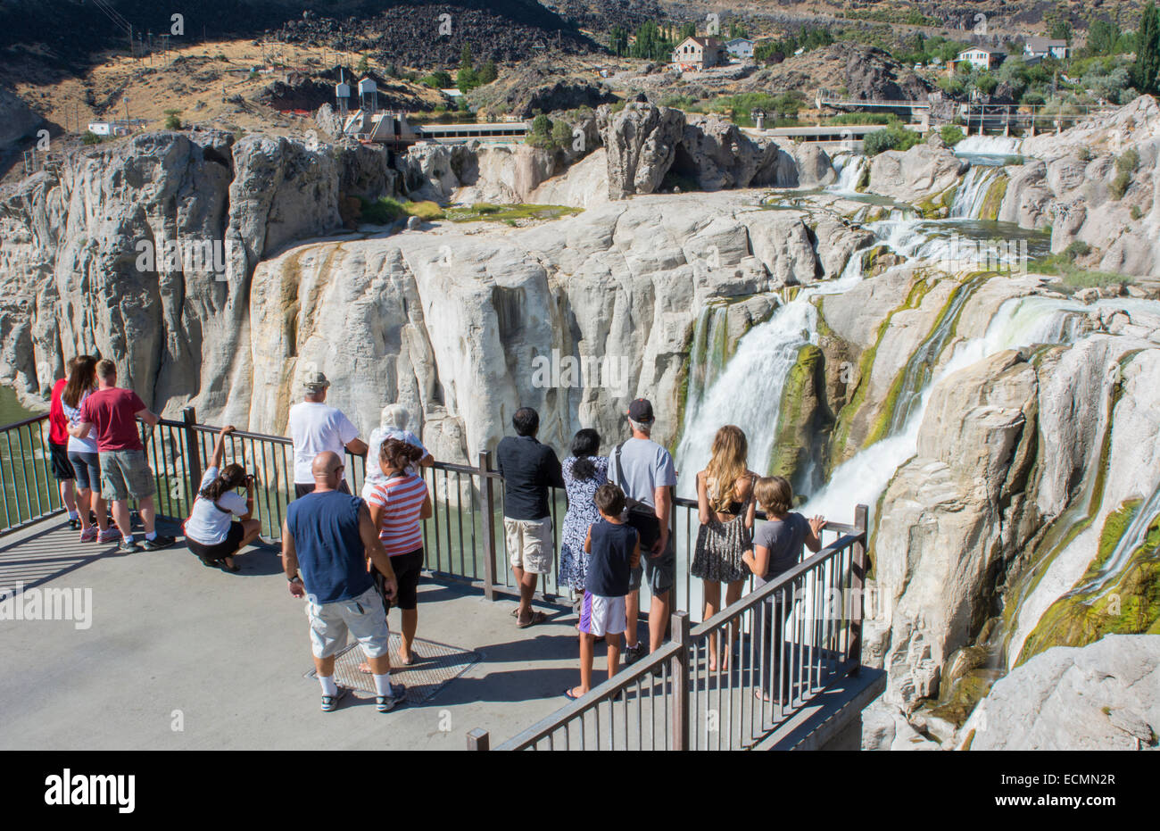 Twin Falls Idaho attraction of Shoshone Falls & Dierkes Lake with falls of water over the rocks - Stock Image