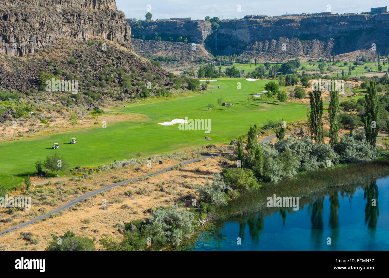 Twin Falls Idaho beautiful exclusive Blue Lake Country Club in valley of mountain and expensive and private golf - Stock Image