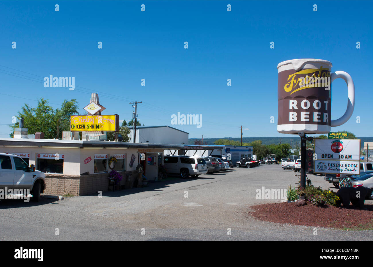 Ashton Idaho old historical Frostop Drive In open since 1965 with fish and ice cream for tourists - Stock Image
