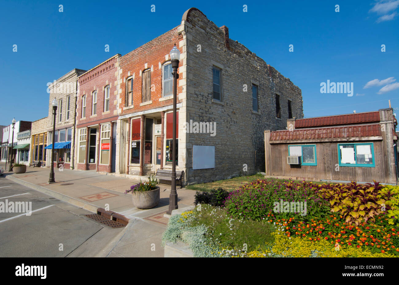 Wamego Kansas  from The Wizard of Oz going home to Kansas main street called Lincoln Avenue shops and stores - Stock Image