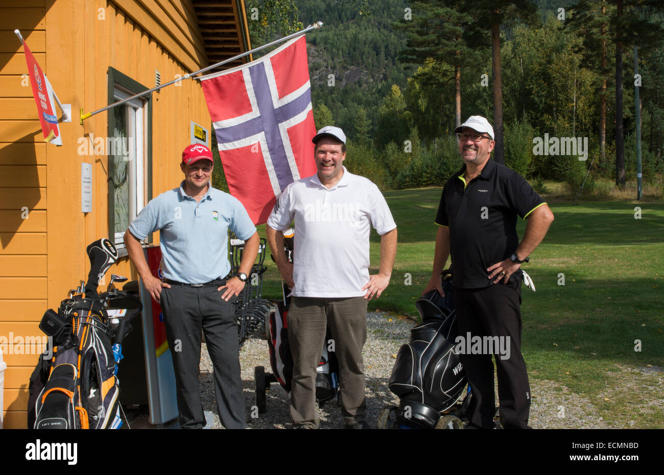 Nes Norway golf course with local men golfers called Ringerke Golf Course  MR-3 - Stock Image