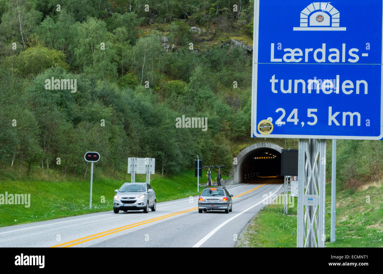 Laerdal Norway tunnel longest tunnel in world at 24.5 km or 15 miles long - Stock Image